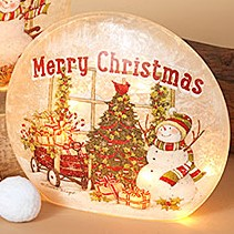 Electric Lighted Frosted Luminary - Glass - Merry Christmas - 9in