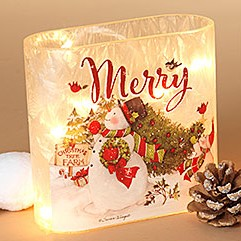 Electric Lighted Frosted Luminary - Glass - Merry Snowman - 6.1in