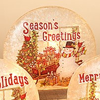 Electric Lighted Frosted Luminary - Glass - Season's Greetings - 9in