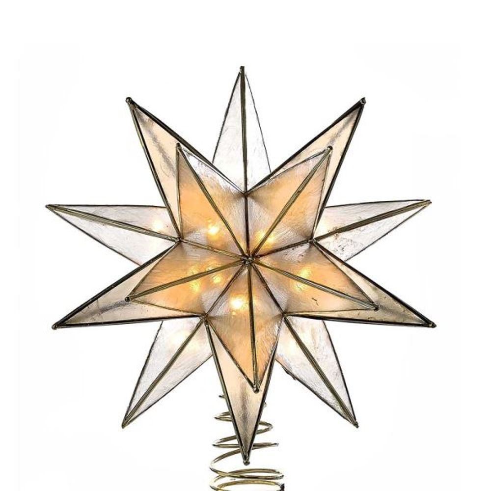 Electric Tree Topper - 15-Point Gold Capiz Star - 8.25in
