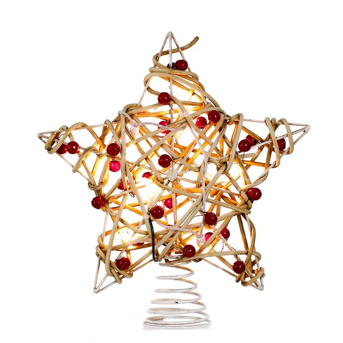 Electric Tree Topper - Birch Rattan Star With Berry - 10.9in