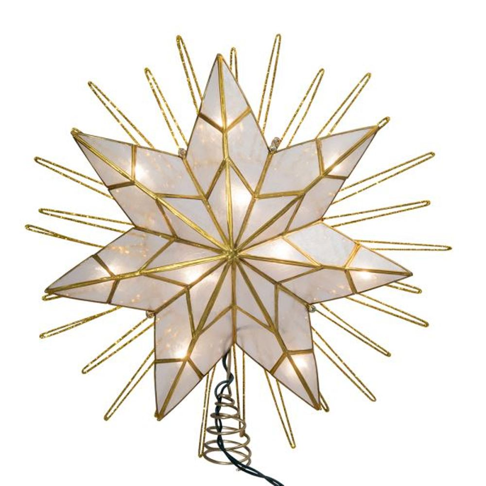 Electric Tree Topper - 7-Point Capiz Star - 14in