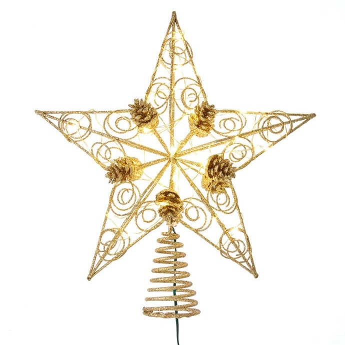 Electric Tree Topper - Gold Star and Pinecones - 11.5in