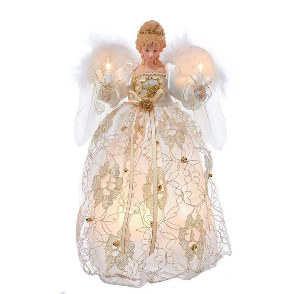 Electric Tree Topper - Ivory And Gold Dress Angel - 12in