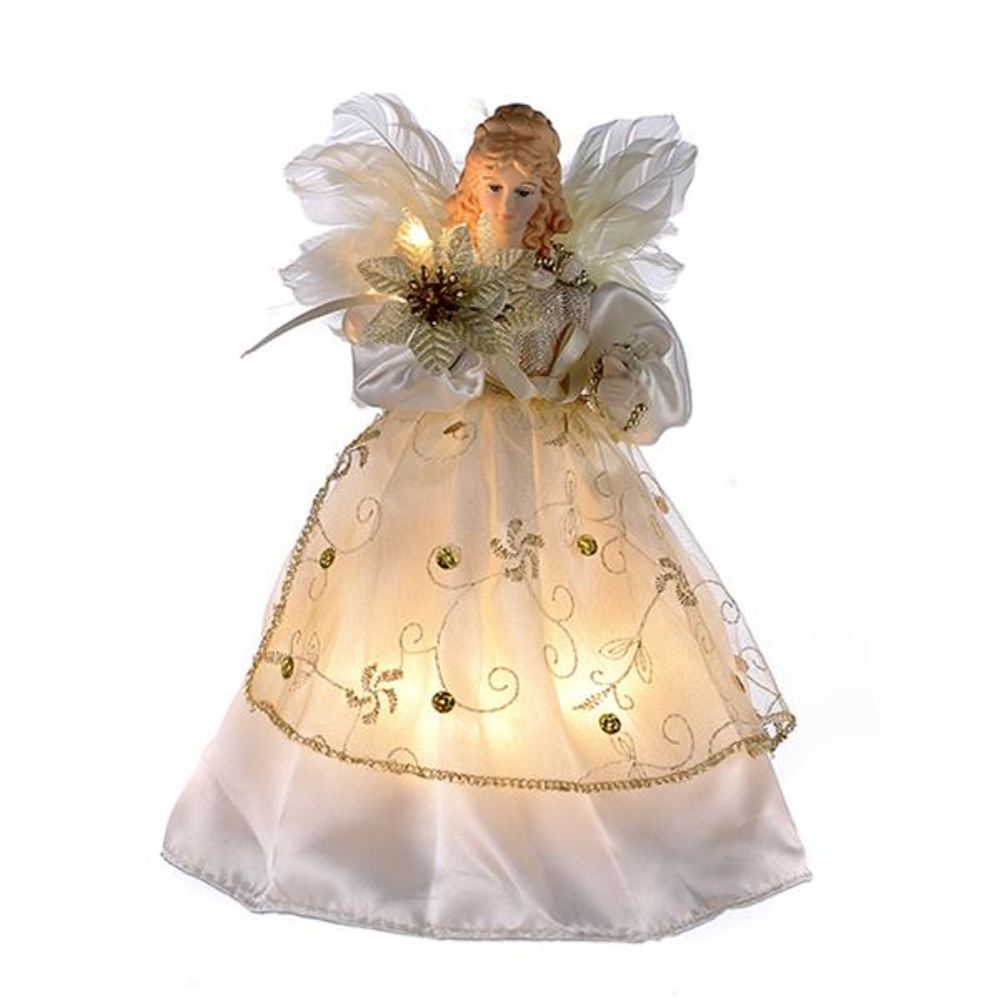 Electric Tree Topper - Ivory And Gold Angel - 9in