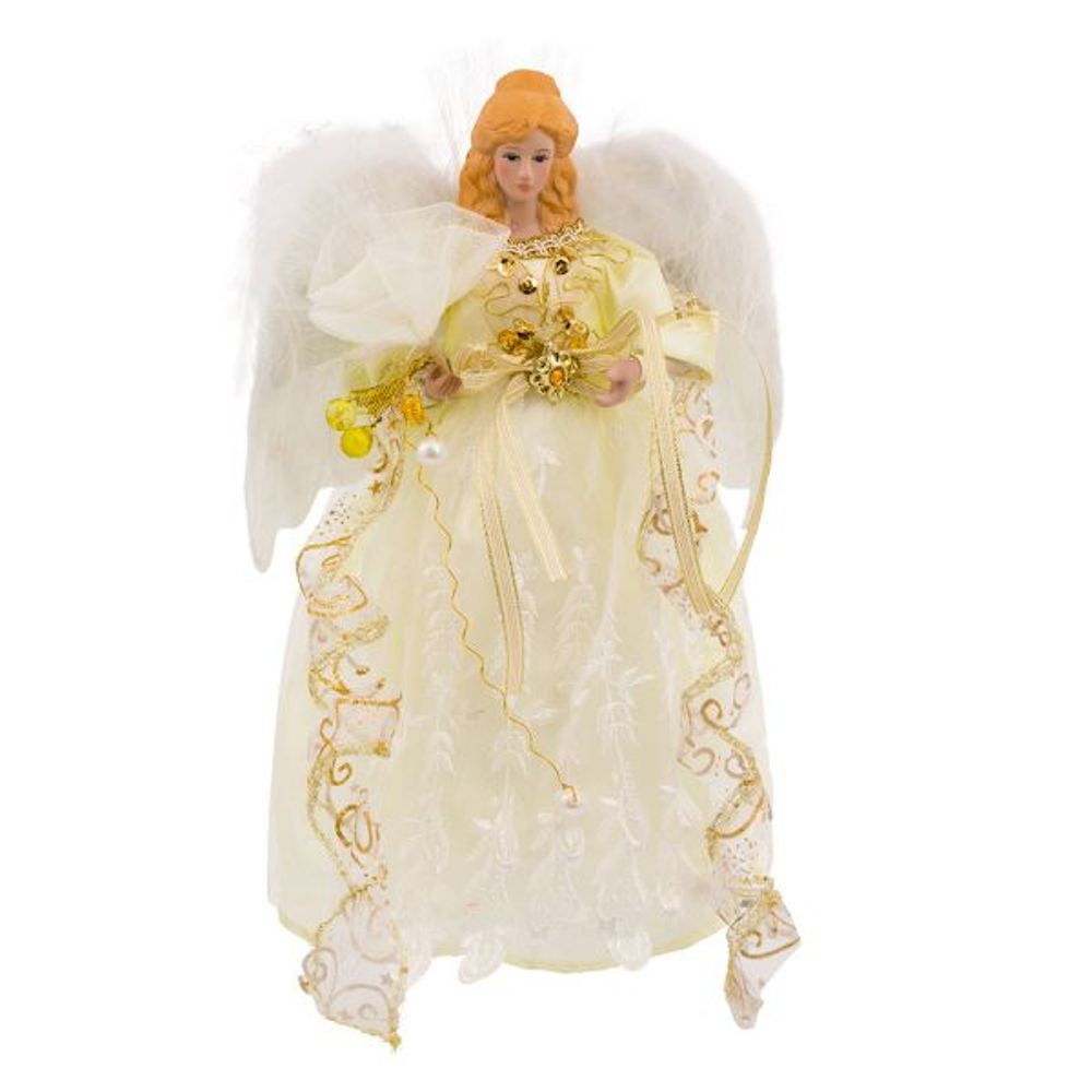 Electric Tree Topper - White And Gold Dress Angel - 12in