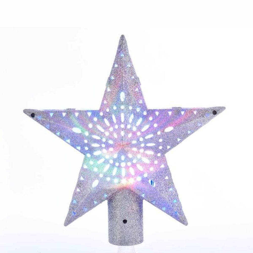 Electric Tree Topper - Red, Green And Silver Rotating Star - 8in