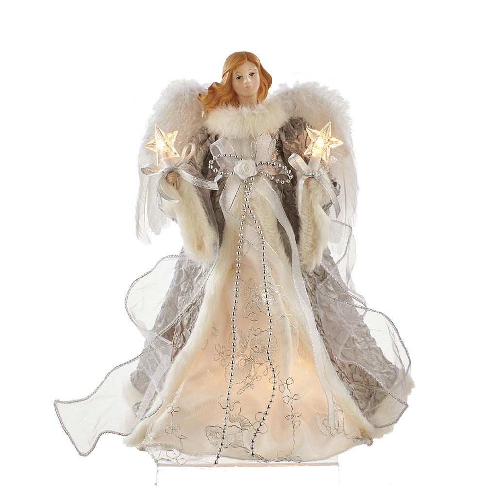 Electric Tree Topper - Silver and Grey Angel - 14in