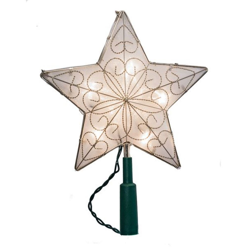 Electric Tree Topper - Silver Mesh Star - 8.5in