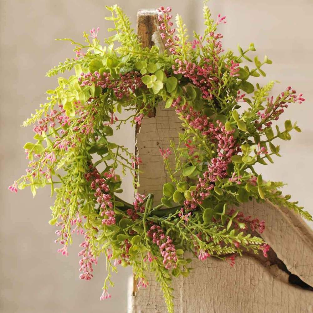 Eucalyptus Candle Ring - Pink Berries - 6.5 Inch