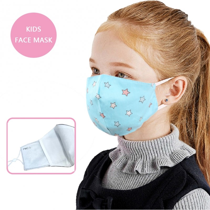 Face Mask - Linen - Aqua with Small Stars - Kids