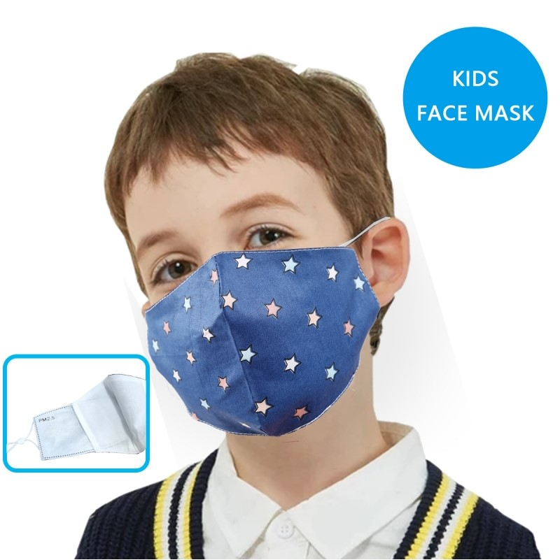 Face Mask - Linen - Blue with Small Stars - Kids