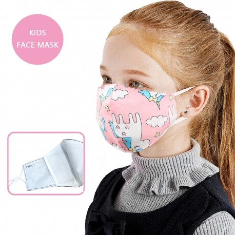 Face Mask - Linen - Unicorns with Stars & Clouds - Kids