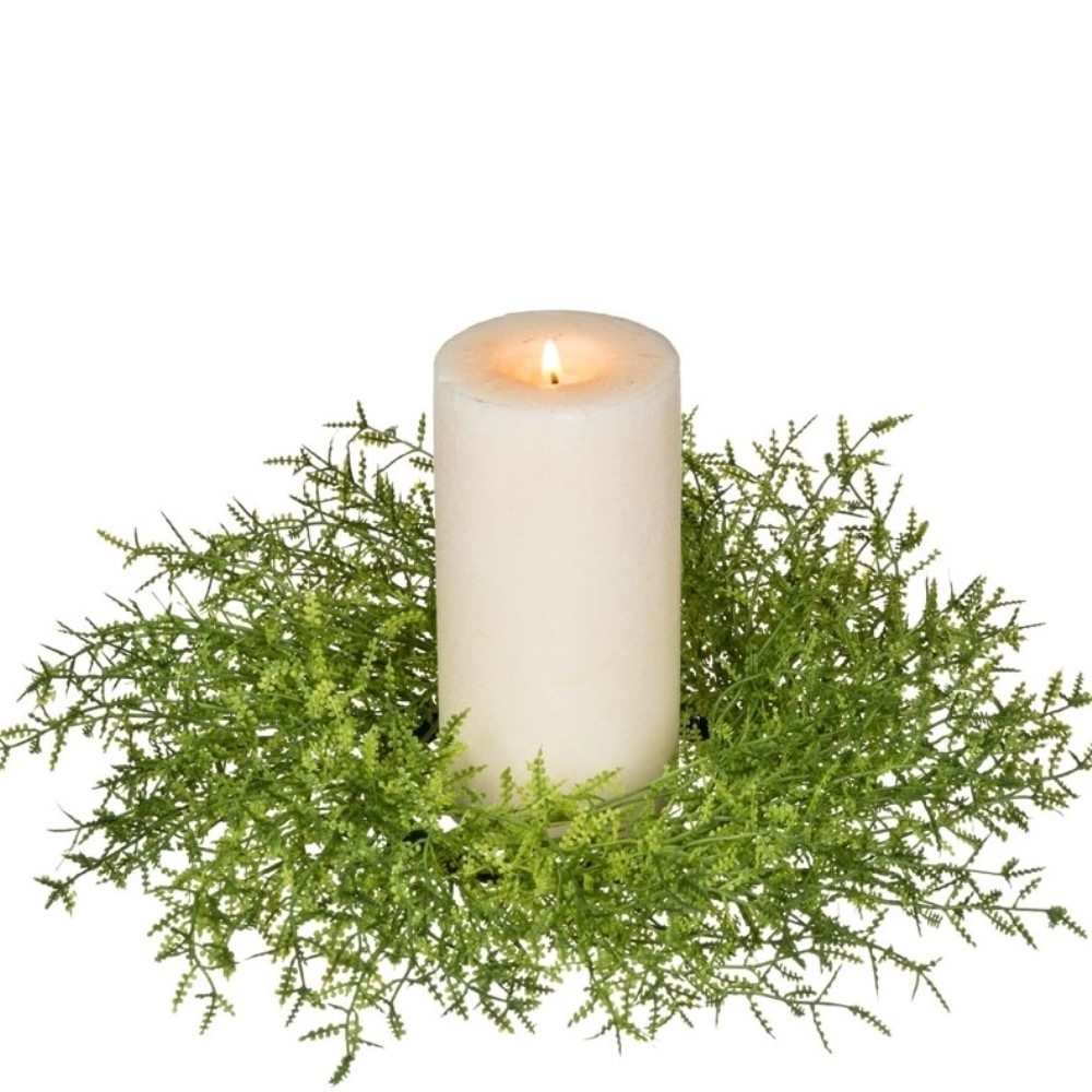 Feather Fern Candle Ring - Green - 5in