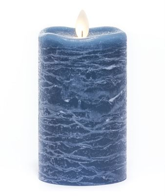 Flameless Pillar Candle - Mirage Gold - Aegean Blue - 5in x 3in