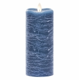 Flameless Pillar Candle - Mirage Gold - Aegean Blue - 7in x 3in