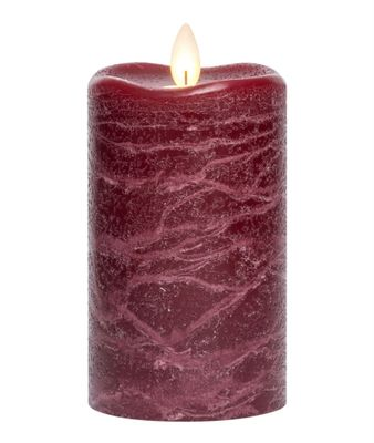Flameless Pillar Candle - Mirage Gold - Burgundy - 5in x 3in