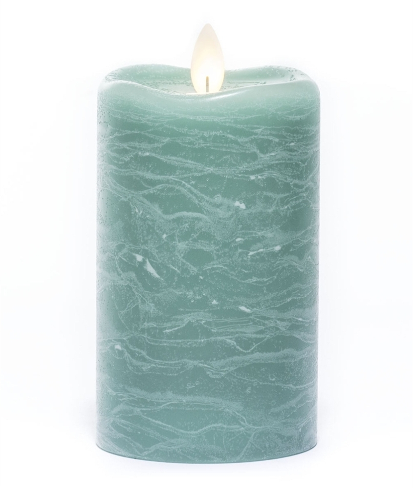 Flameless Pillar Candle - Mirage Gold - Sea Green - 5in x 3in