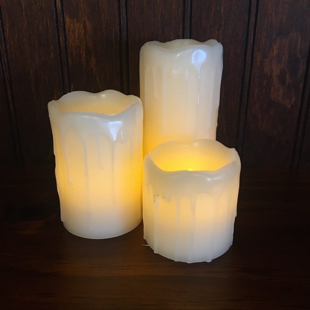 Flameless Pillar Candle Set - Soft Glow Flicker - Ivory - Set of 3