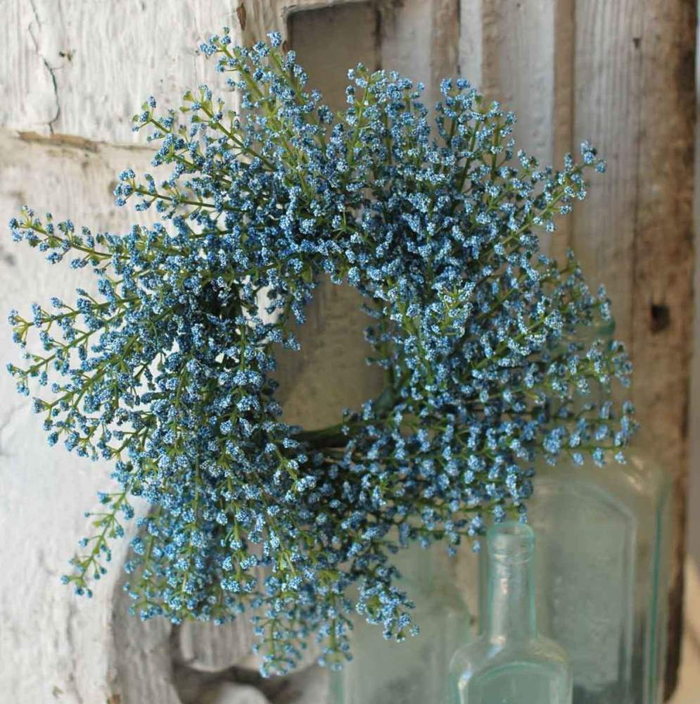 Floral Candle Ring - Bursting Astilbe Sky Blue - 3.5in
