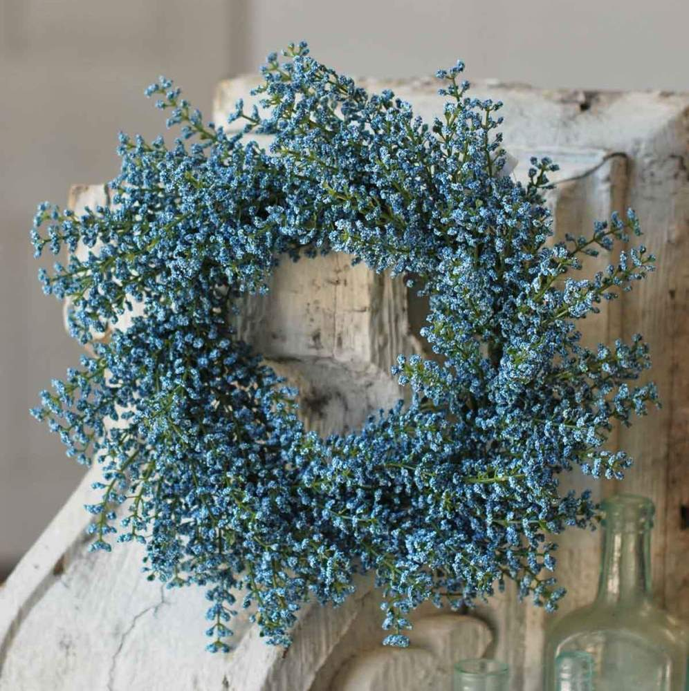 Floral Candle Ring - Bursting Astilbe Sky Blue - 6.5in