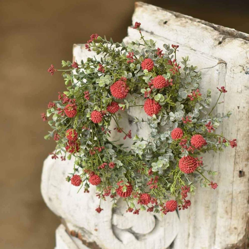 Floral Candle Ring - Garden Bliss Red - 6in