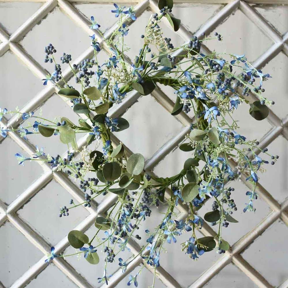 Floral Candle Ring - Jubilee Blue - 6.5in