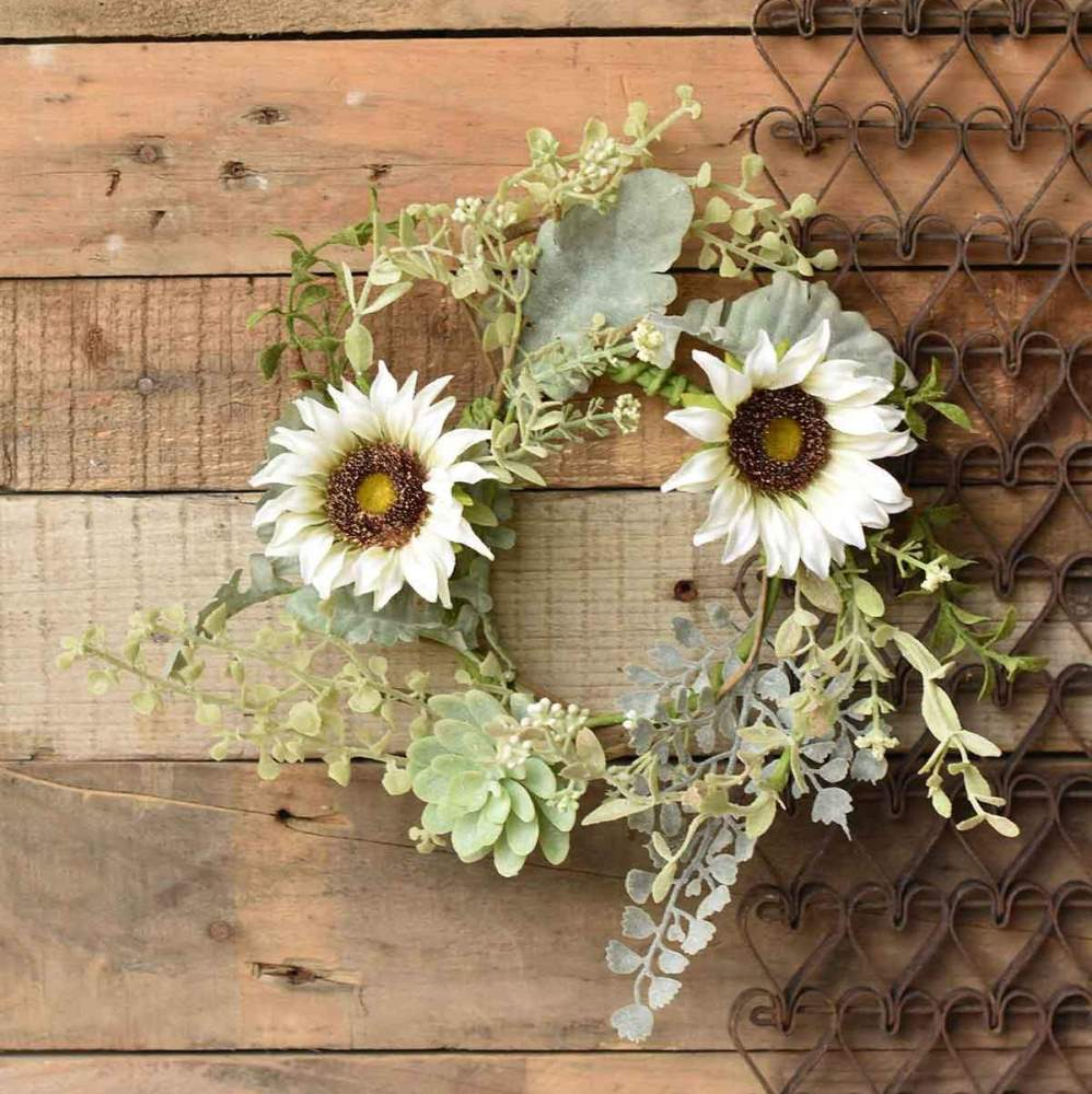 Floral Candle Ring - Sunflower Succulent - 4.5in