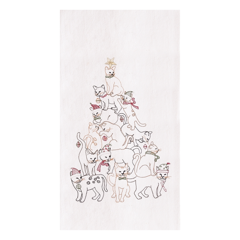 Flour Sack Dish Towel - Cat Christmas Tree - 27in