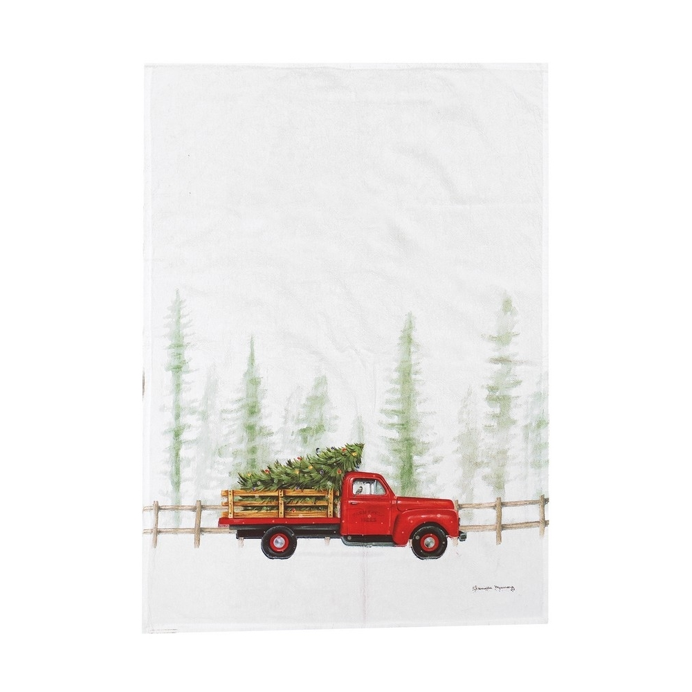 Flour Sack Dish Towel - Holiday Truck Cruiser - 27in