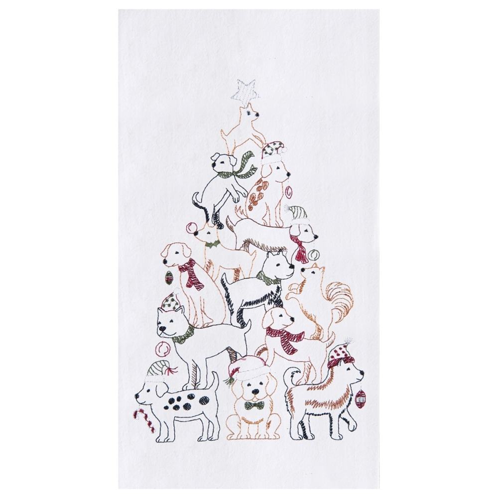 Flour Sack Dish Towel - Puppy Christmas Tree - 27in