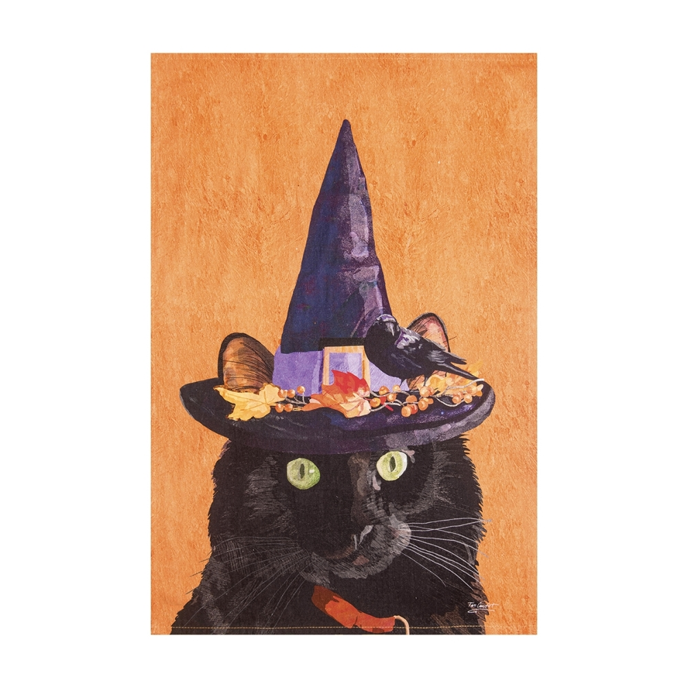 Flour Sack Dish Towel - Witch Cat Mose - 27in
