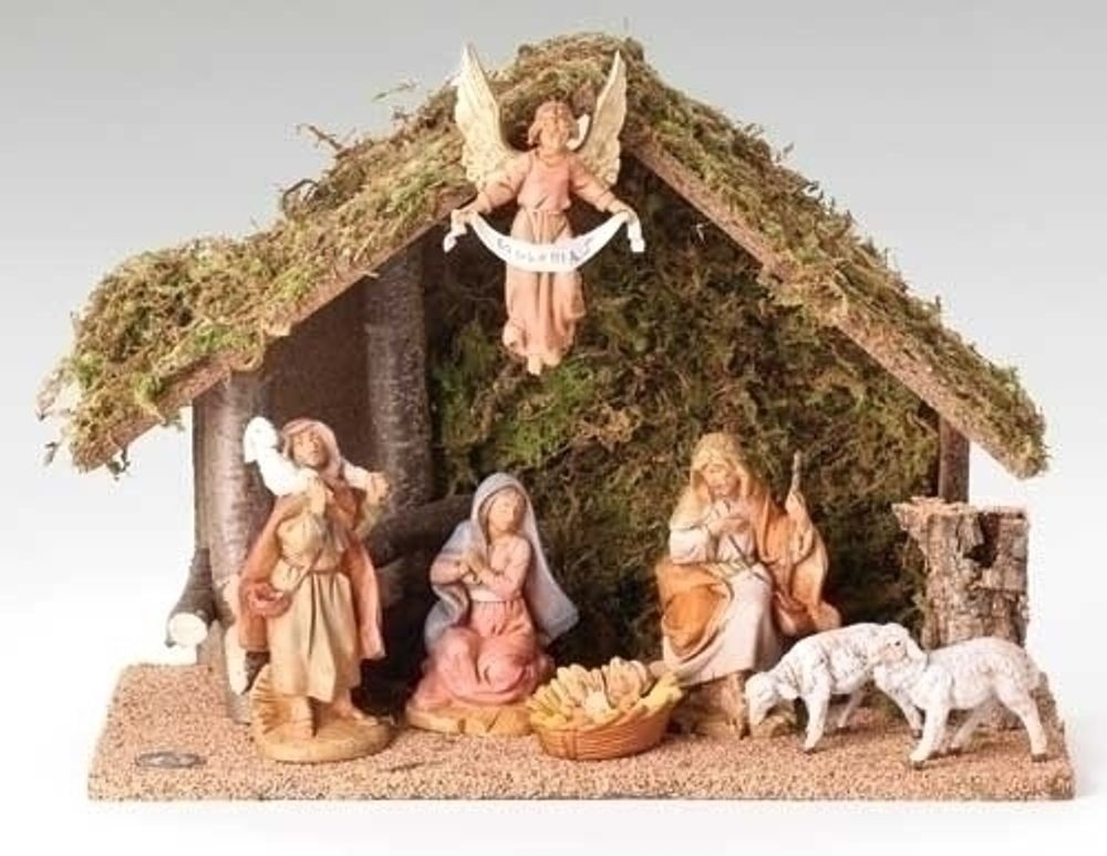 Fontanini Nativity - 5in Collection - Italian Stable - 7pc Set