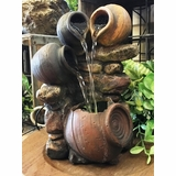Forest Stones/Jars Water Fountain - 1 LED Light - 10in H