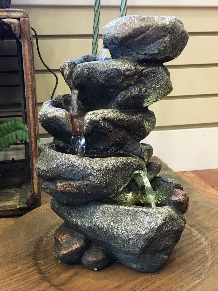 Forest Stones Water Fountain - 1 LED Light - 11in H
