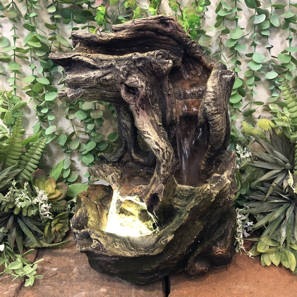 Forest Tree Trunk Water Fountain - 1 LED Light - 13in H
