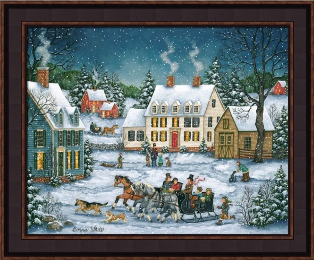 Framed Picture - Dashing through the Snow - 24x20 - Bonnie White