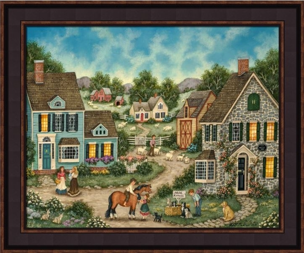 Framed Picture - Free Kittens - 24x20 - Bonnie White
