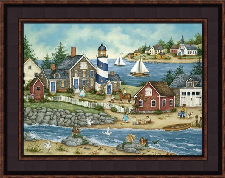 "Framed Print - ""Mermaid Cove"" - 16in x 20in - Artist Bonnie White"