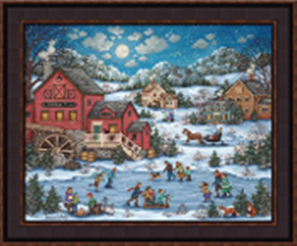 Framed Picture - Skating on Fox Pond - 24x20 - Bonnie White
