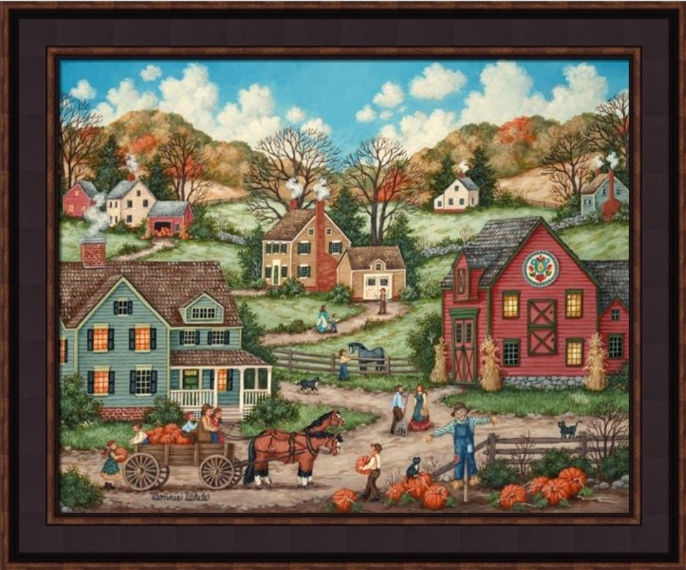 Framed Picture - The Pumpkin Pickers - 24x20 - Bonnie White