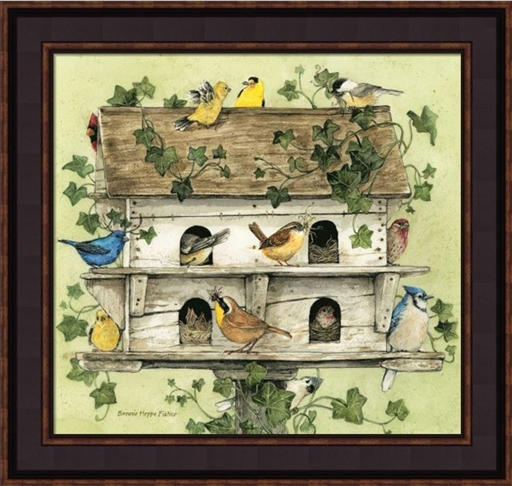 Framed Print - Birdhouse With Birds - 16x15 - Bonnie Fisher