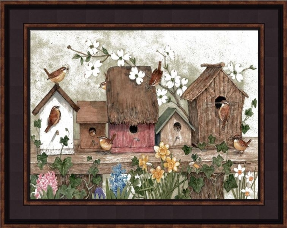 Framed Print - Birdhouse With Wrens - 16x12 - Bonnie Fisher