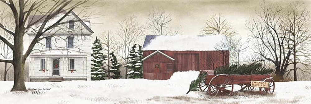 Framed Print - Christmas Trees for Sale - 18x6 - Billy Jacobs
