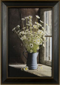 "Framed Picture - ""Daisies in Blue Pitcher Frame Print"" - 11in x 17in - Artist Irvin Hoover"