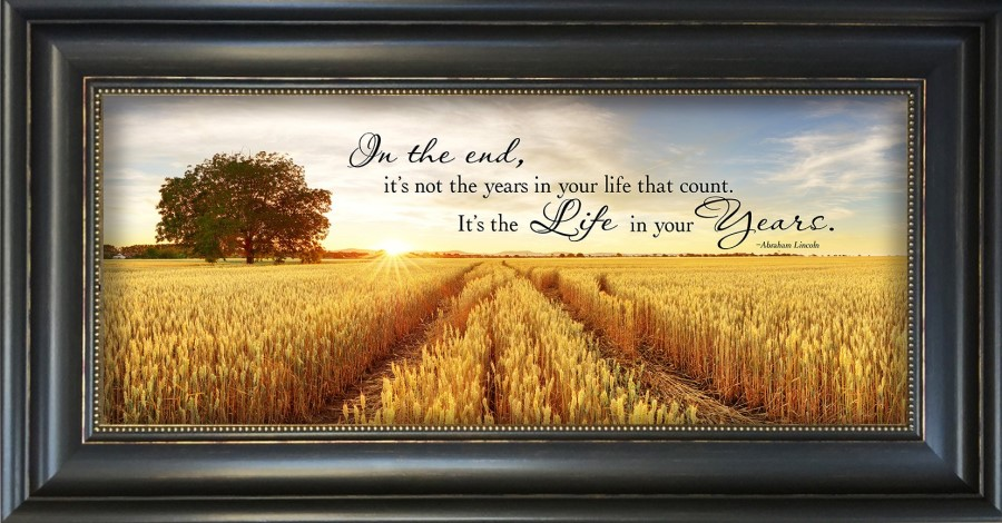 Framed Print - It's The Life In Your Years - Abraham Lincoln Quote - 22in x 13in