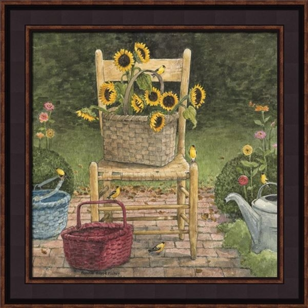 Framed Print - Watering Can Sunflower - 16x16 - Bonnie Fisher