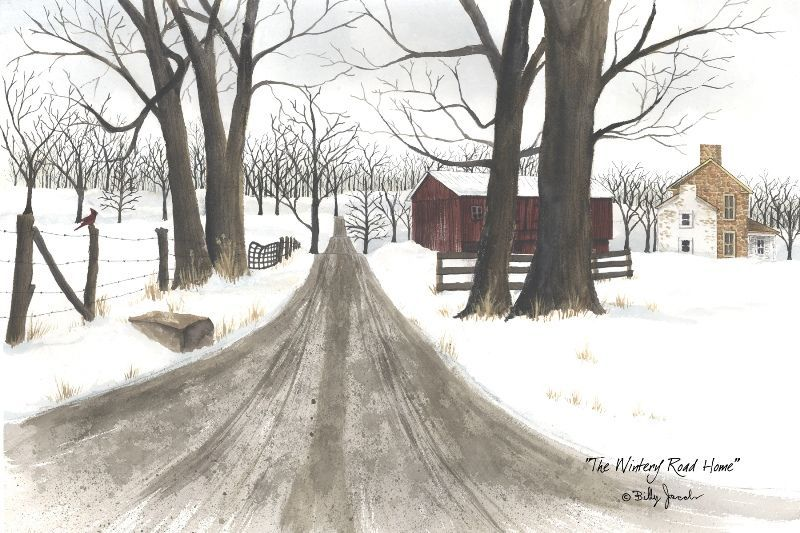 "Framed Print - ""Wintery Road Home"" - 30in x 16in - Artist Billy Jacobs"