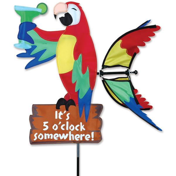 Garden Wind Spinner - It's 5 O'Clock Somewhere Parrot - Kinetic - 20in