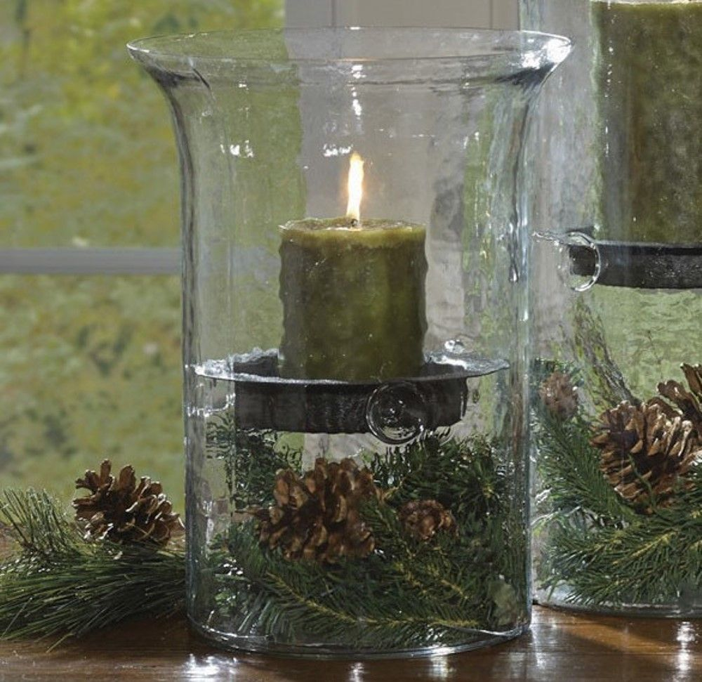 Park Designs Hammered Glass Candle Hurricane - 12in x 7in